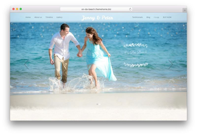 On Da Beach WordPress Beach Style Wedding Theme