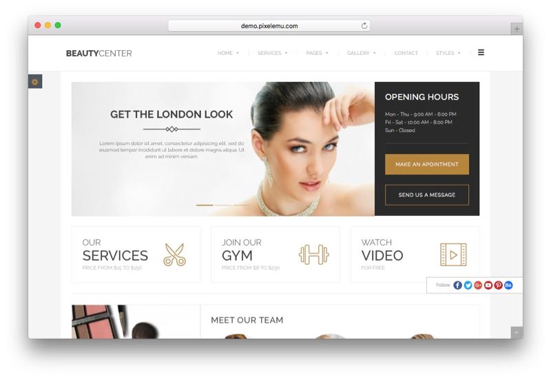 PE Beauty Center WordPress Beauty Salon Theme