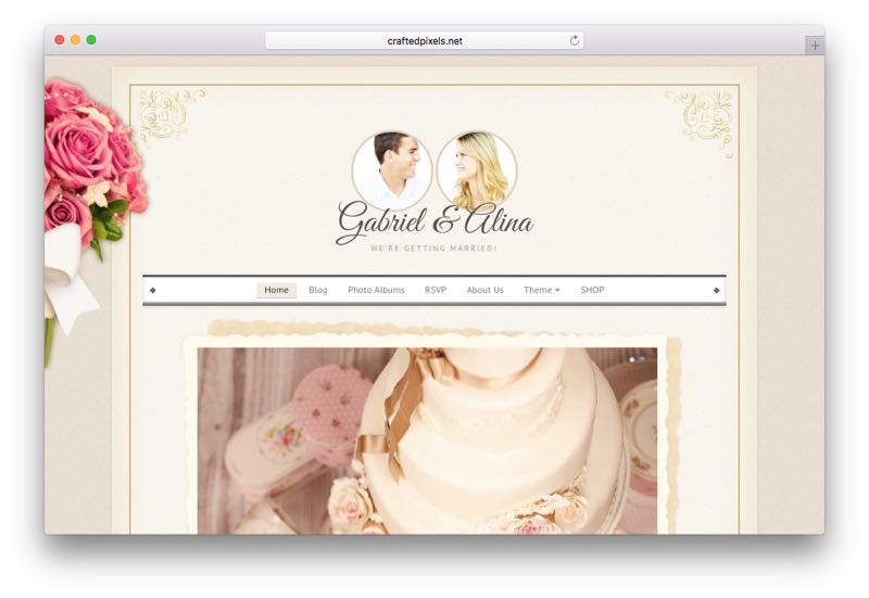 Vintage Wedding WordPress Invitation Theme
