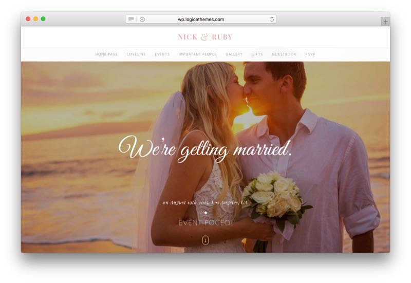 Yes Elegant Wedding WordPress One Page Theme