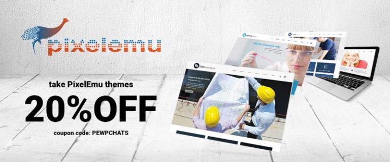 20% Discount Coupon Code on PixelEmu WordPress Themes Club
