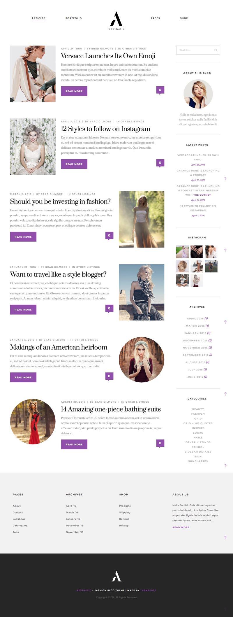 Aesthetic WordPress Fashion Bloggers Theme
