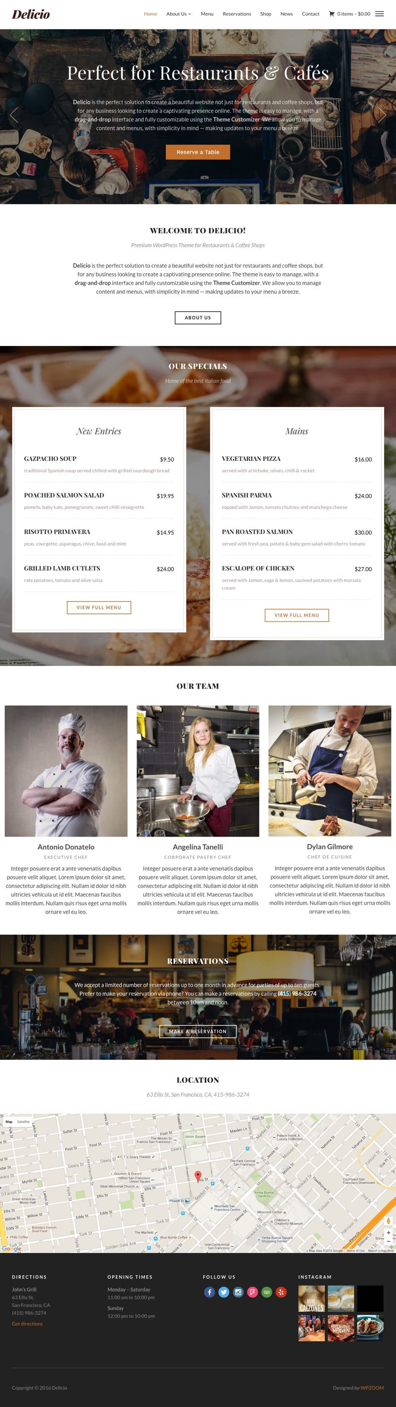 Delicio WordPress Restaurants & Coffee Shop Theme