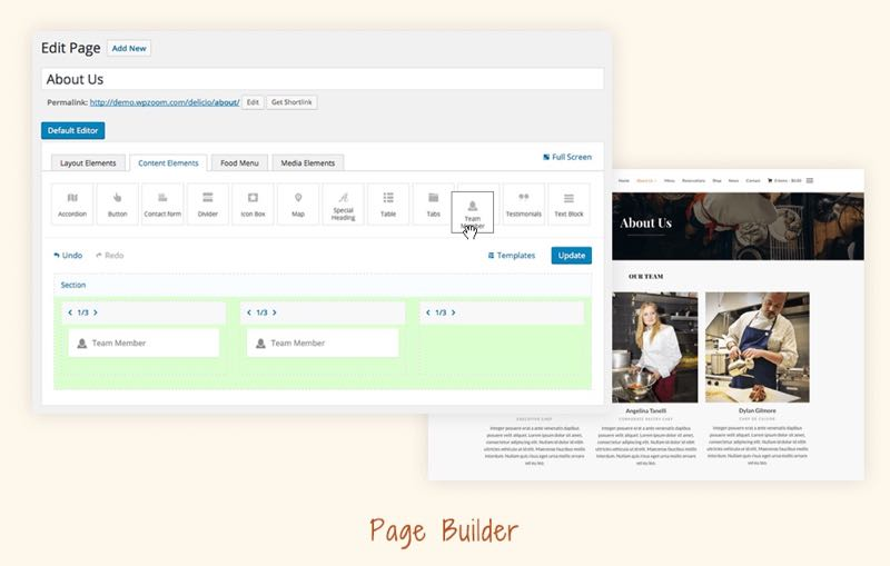 Delicio WordPress Theme - Drag & Drop Page Builder