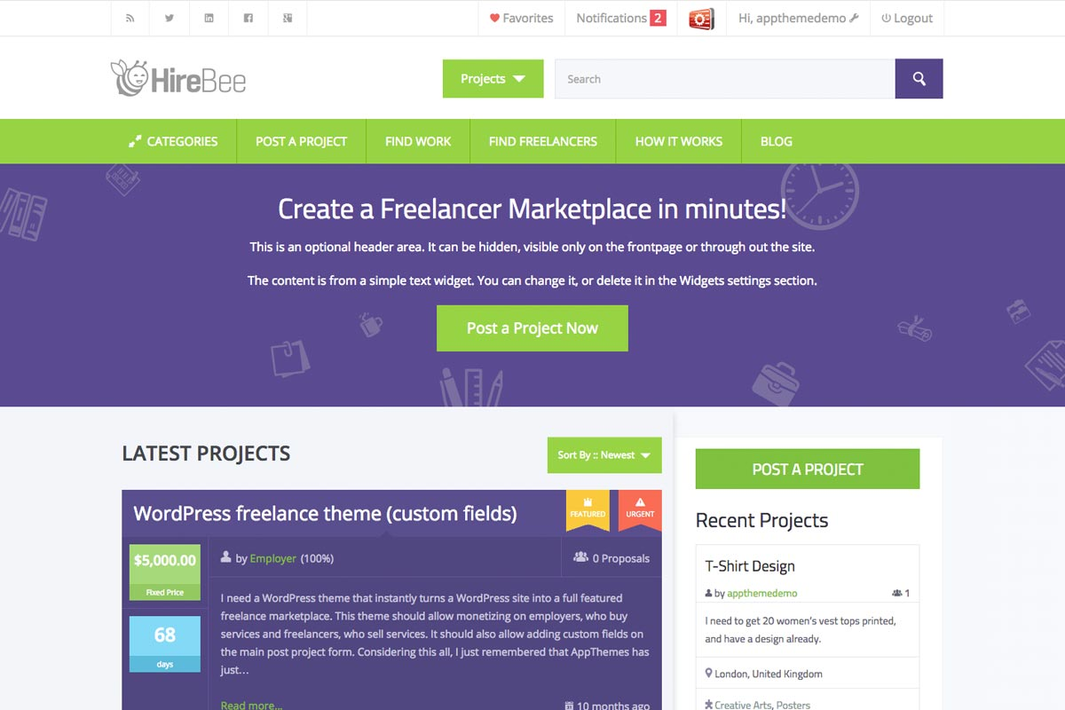 HireBee WordPress Theme for Freelance Job Marketplace Sites