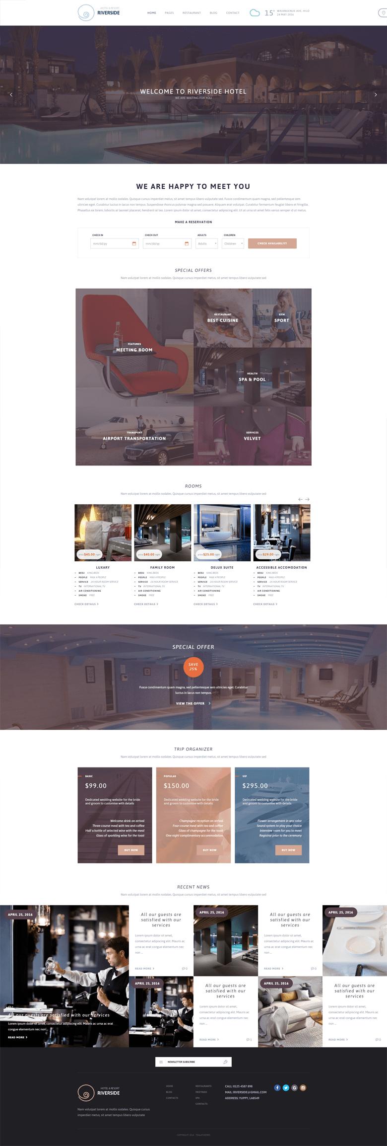 Riverside Resort WordPress Guesthouse Theme