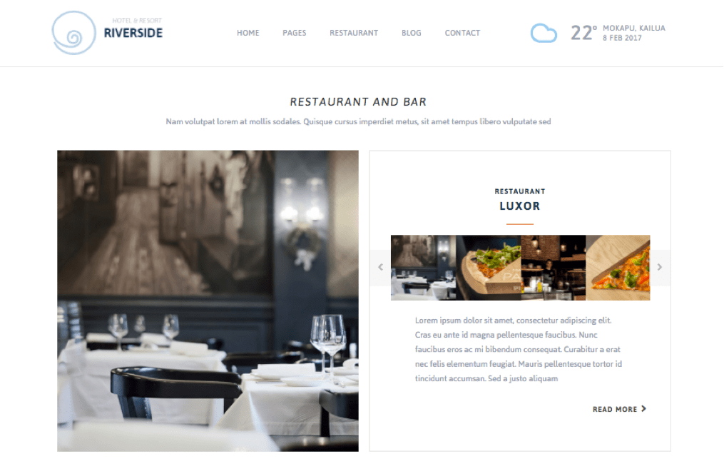 Riverside Resort WordPress Theme for Motels, Guesthouse & Hotels