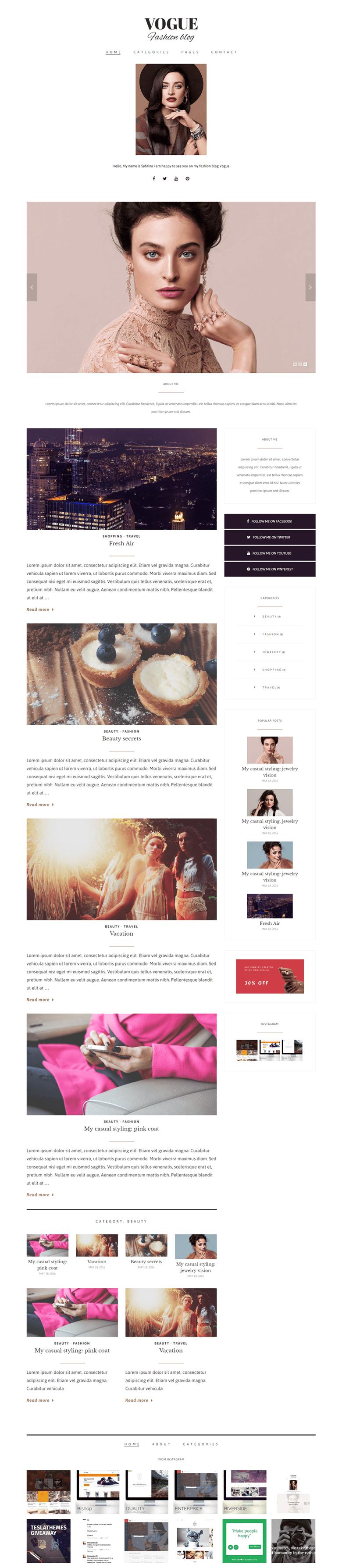 Vogue WordPress Fashion Blog Theme