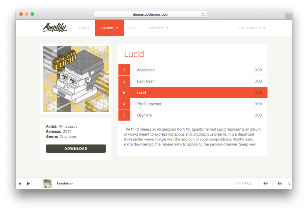 Amplify WordPress Band Theme