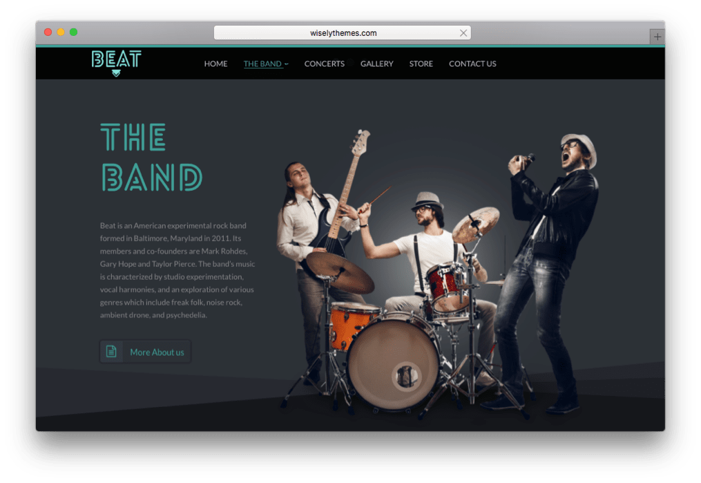 Beat OnePage Music & Band WordPress Theme