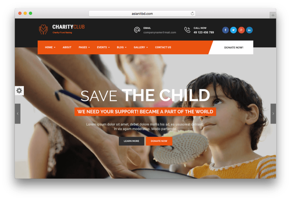 Charity Club Fundraising WordPress Theme