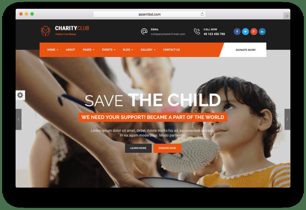 Charity Club Fundraising WordPress Theme