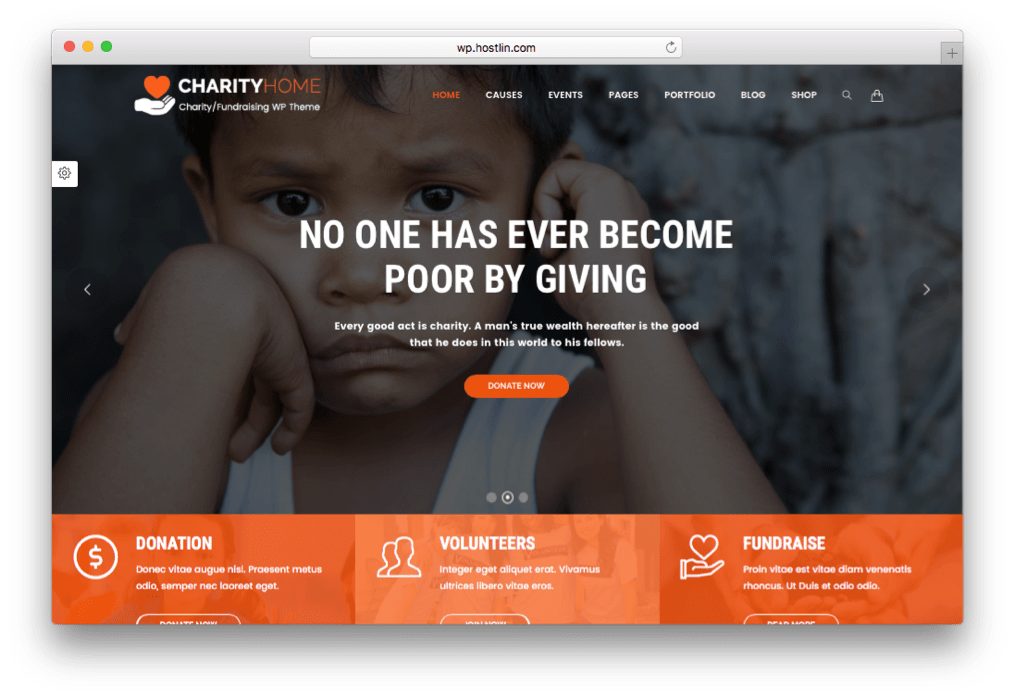 Charity Home WordPress Fundraising Theme
