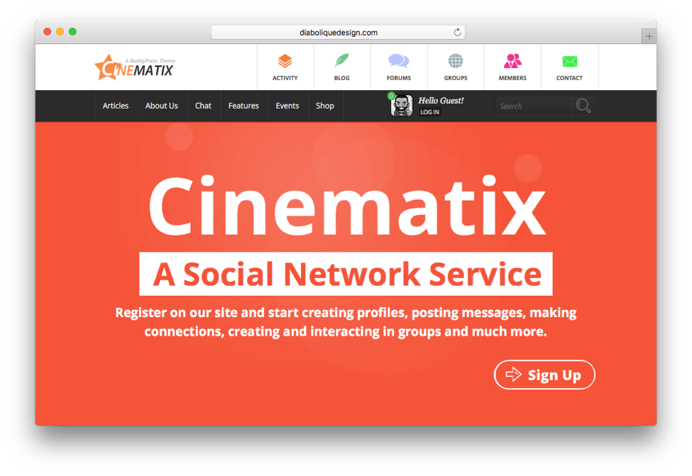 Cinematix Social Network Service Theme