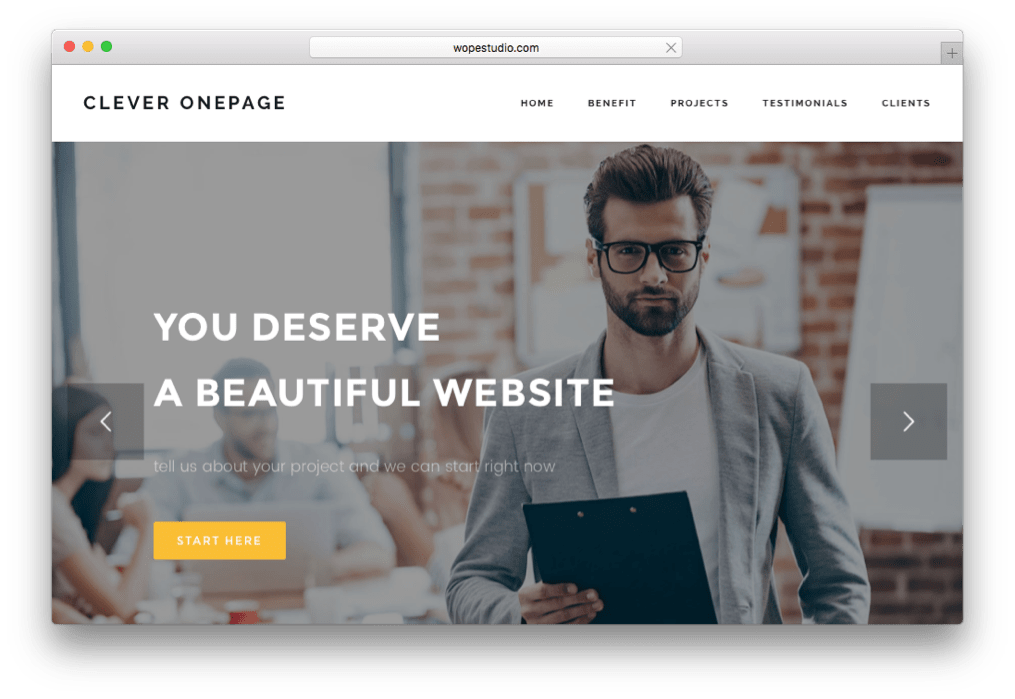Clever One Page Creative WordPress Theme