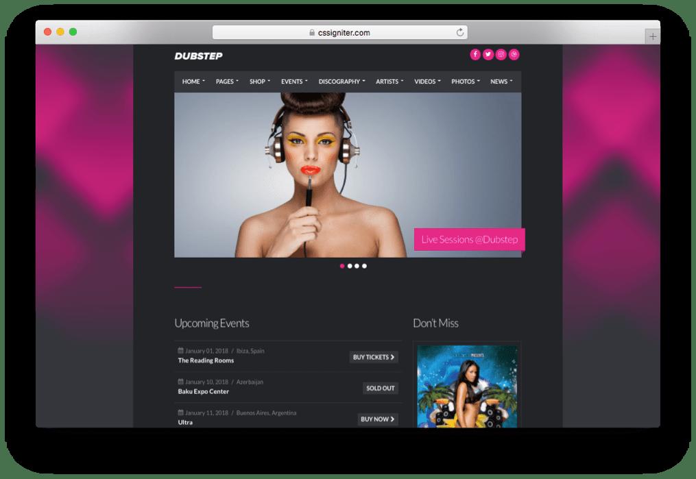 Dubstep Premium Music WordPress Theme