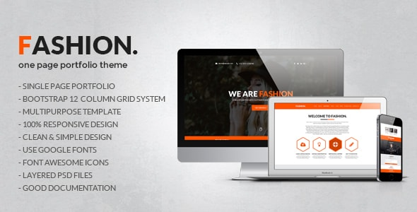 Fashion One Page PSD Template