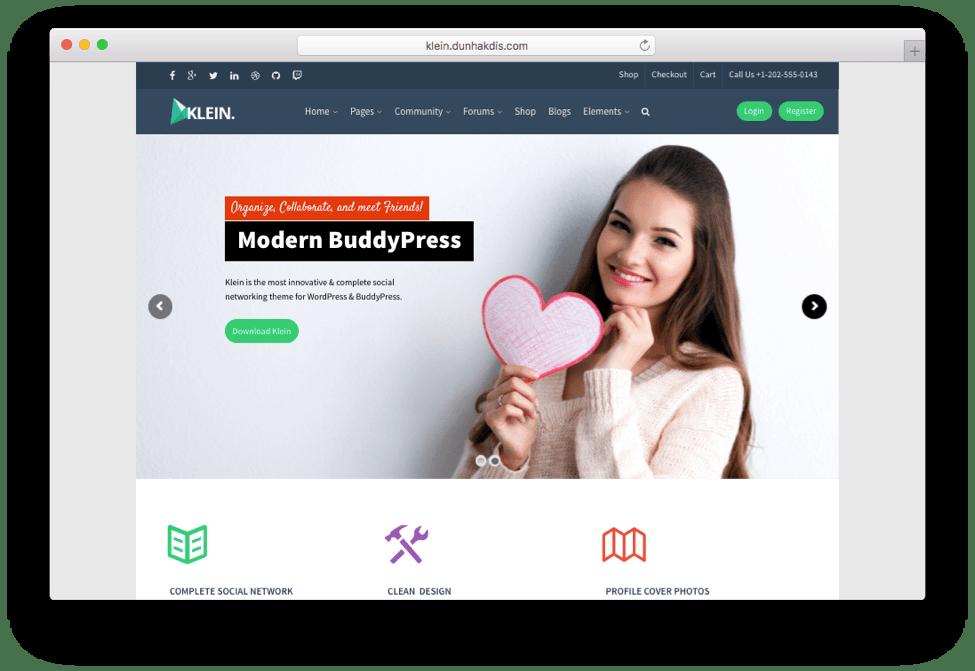 Klein BuddyPress bbPress Community Theme