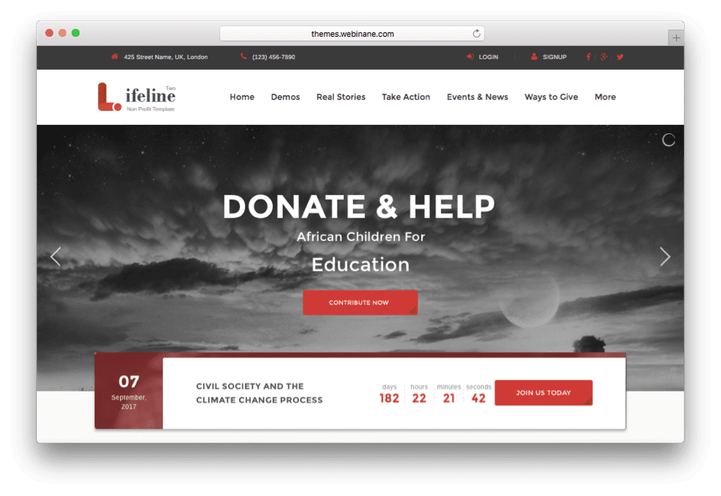 Lifeline 2 Nonprofit WordPress Charity Theme