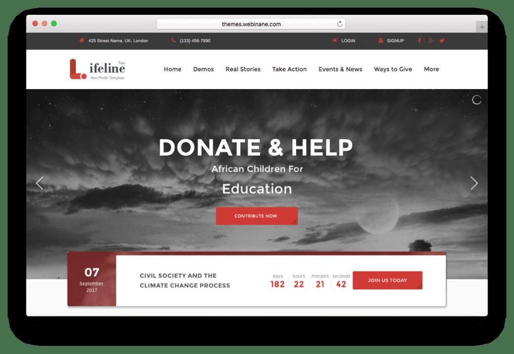 Lifeline 2 Nonprofit WordPress Charity Theme