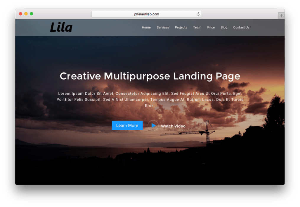 Lila One Page WordPress Theme