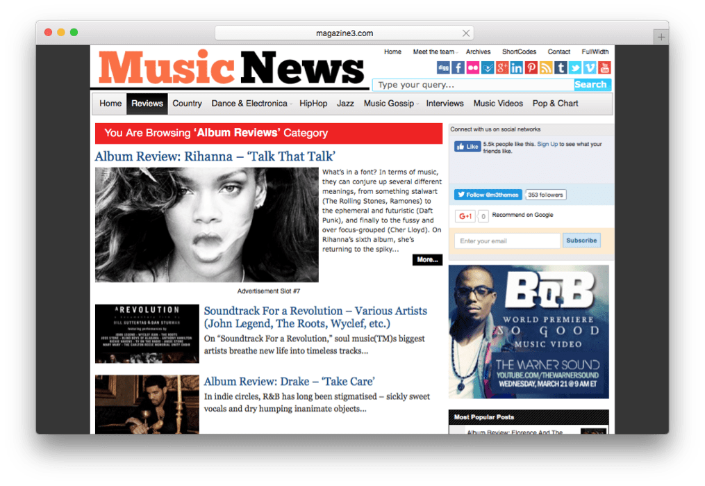 MusicNews WordPress Magazine Theme