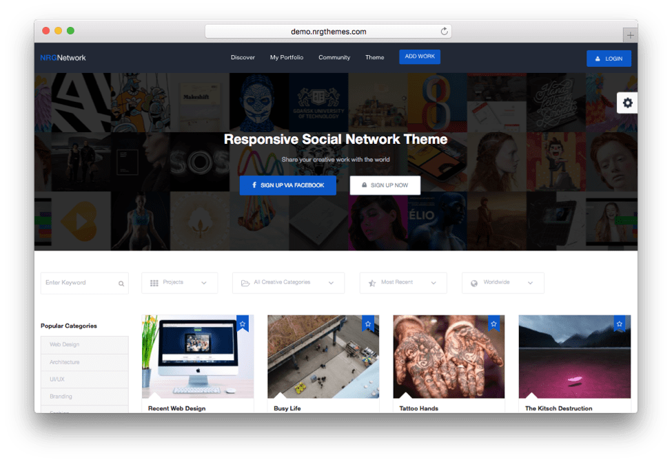 NRG Network Social Network WordPress Theme