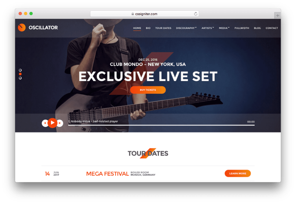 Oscillator WordPress Musicians Theme
