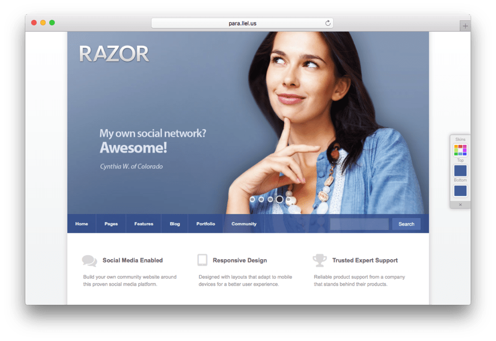 Razor BuddyPress WordPress Theme