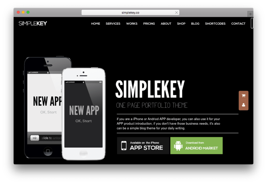 SimpleKey One Page Portfolio WordPress Theme