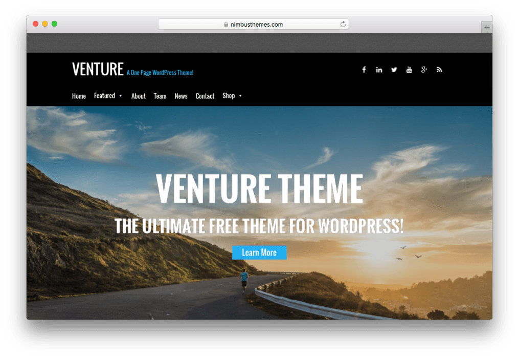 Venture One Page Parallax WordPress Theme