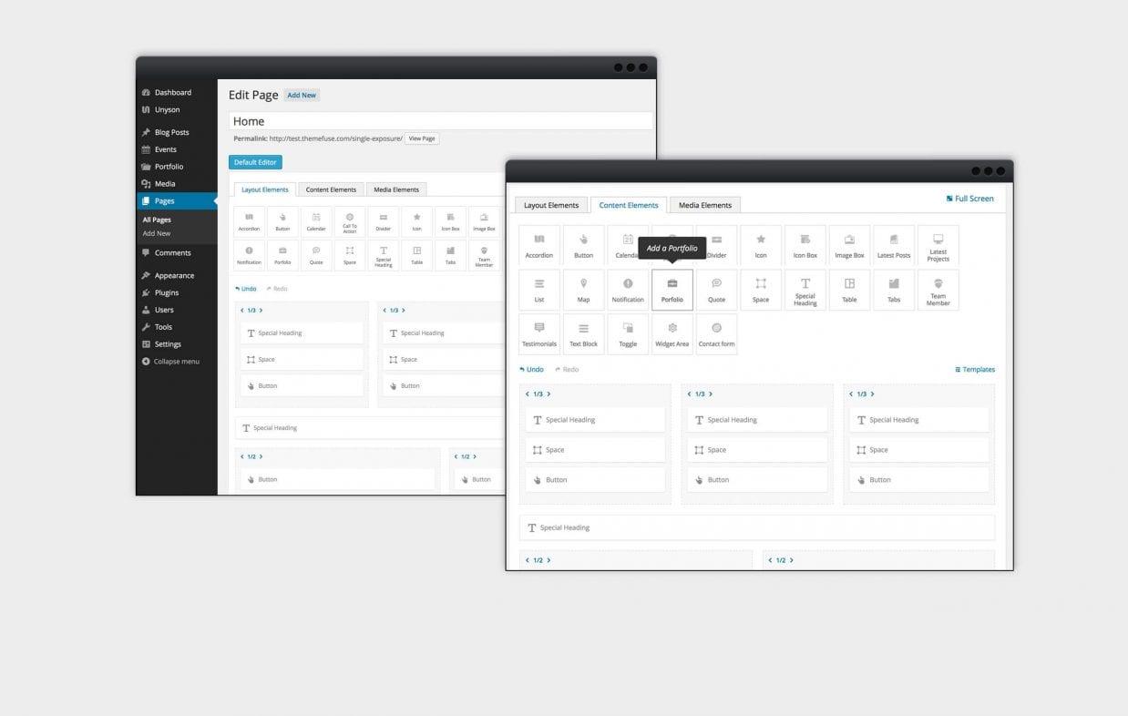 WordPress Theme Visual Page Builder