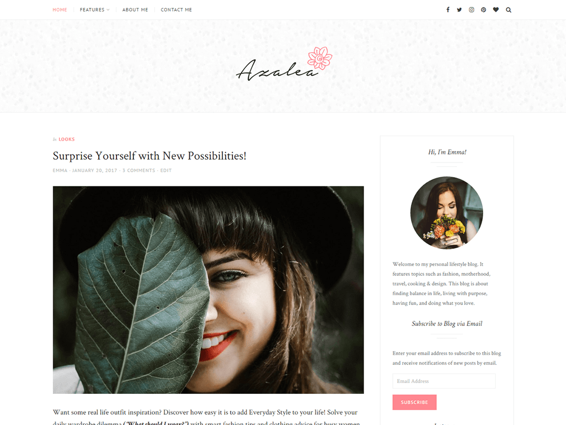 Azalea Free WordPress Lifestyle Blog Theme