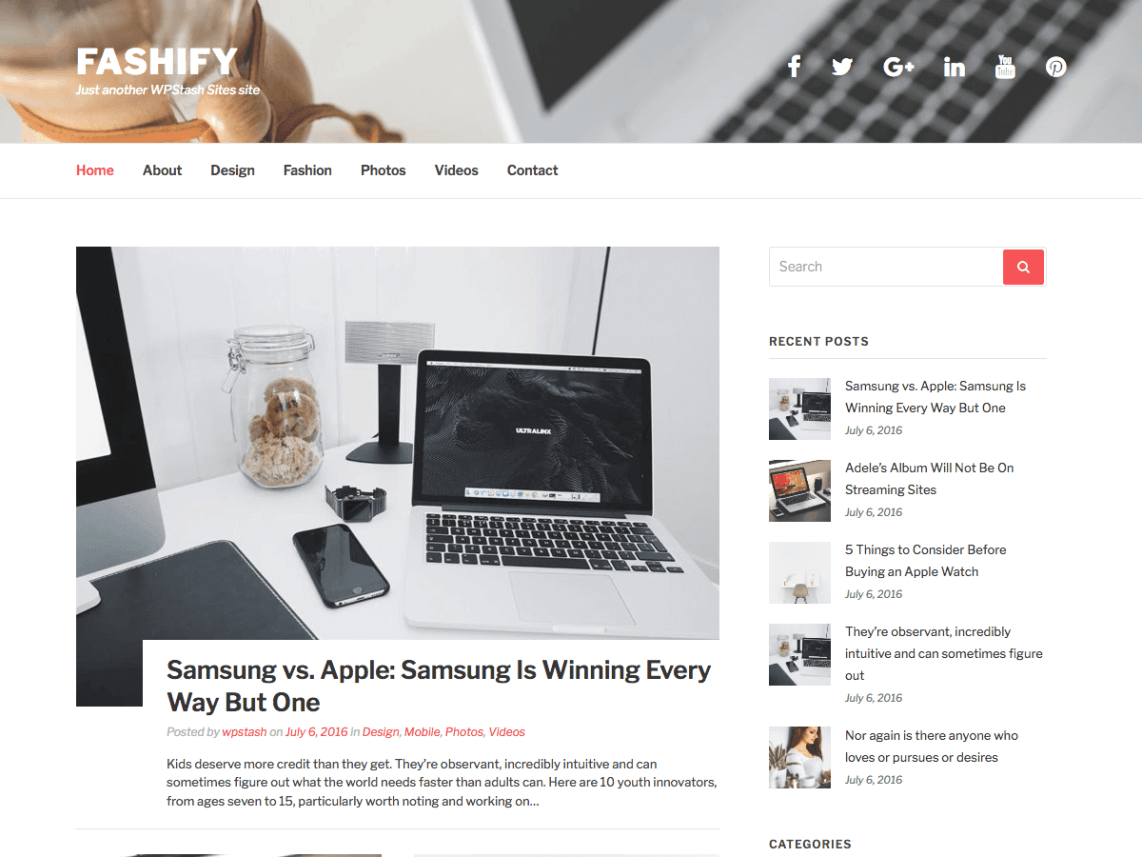 Fashify Free WordPress Fashion Blog Theme