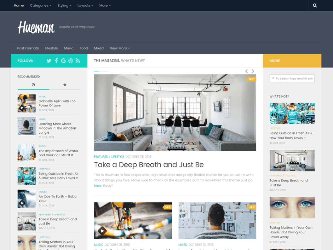 Hueman Free WordPress Bloggers Theme