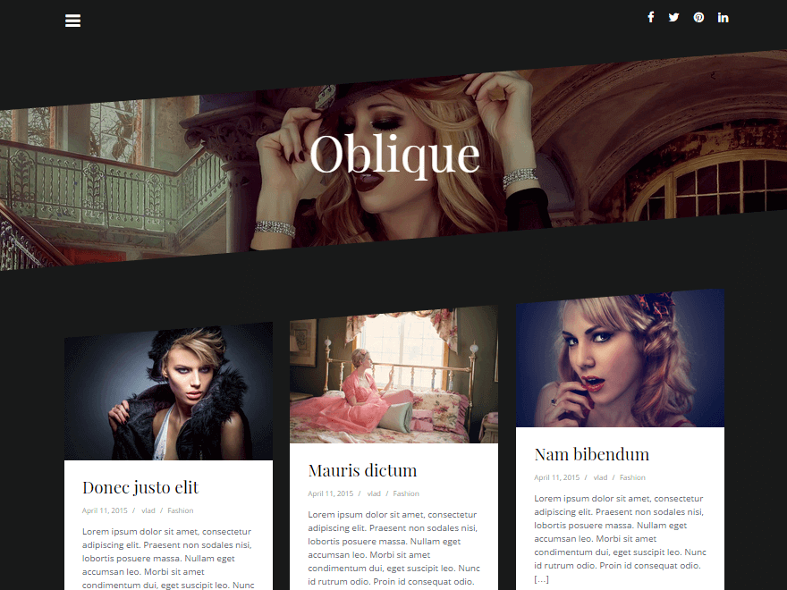 Oblique Free Creative Masonry Blog Theme