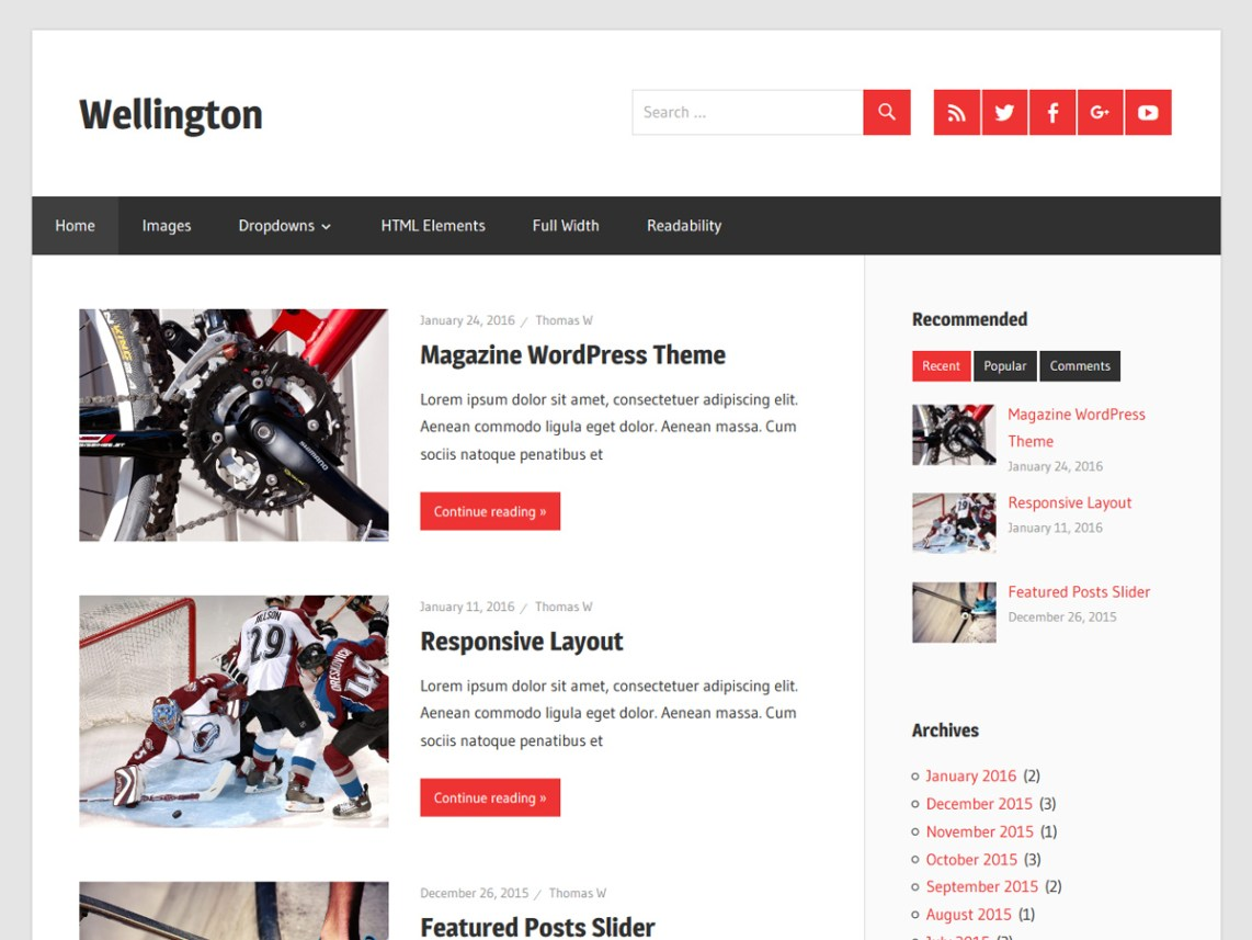 Wellington Free WordPress Blog Theme