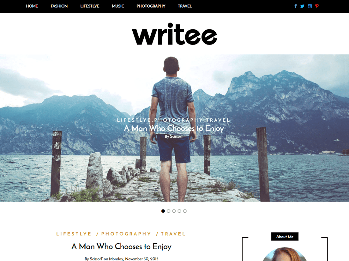Writee Free WordPress Bold Blogging Theme