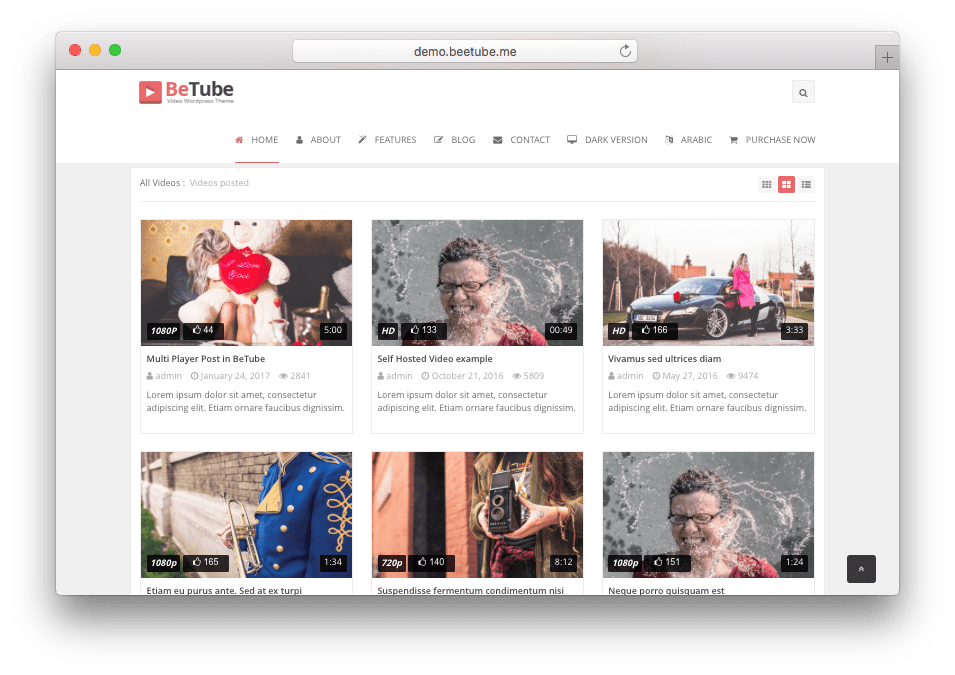 Betube WordPress Video Blog Theme