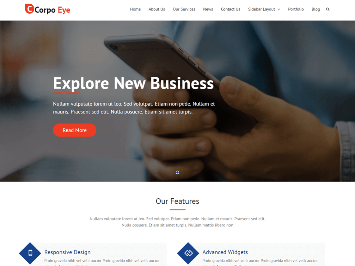 Corpo Eye Free WordPress Software Company Theme