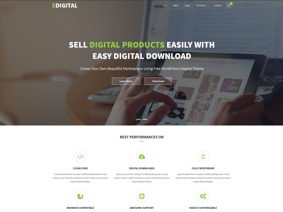 EDigital Free Software Shop WordPress Theme