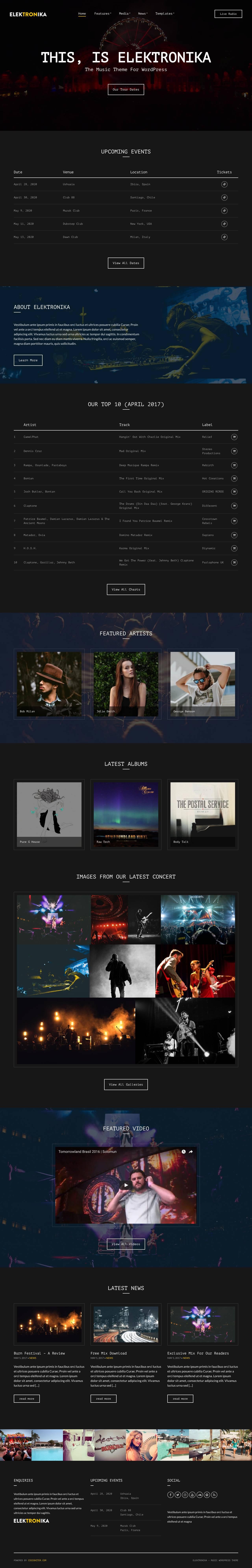 Elektronika WordPress Theme for Entertainers