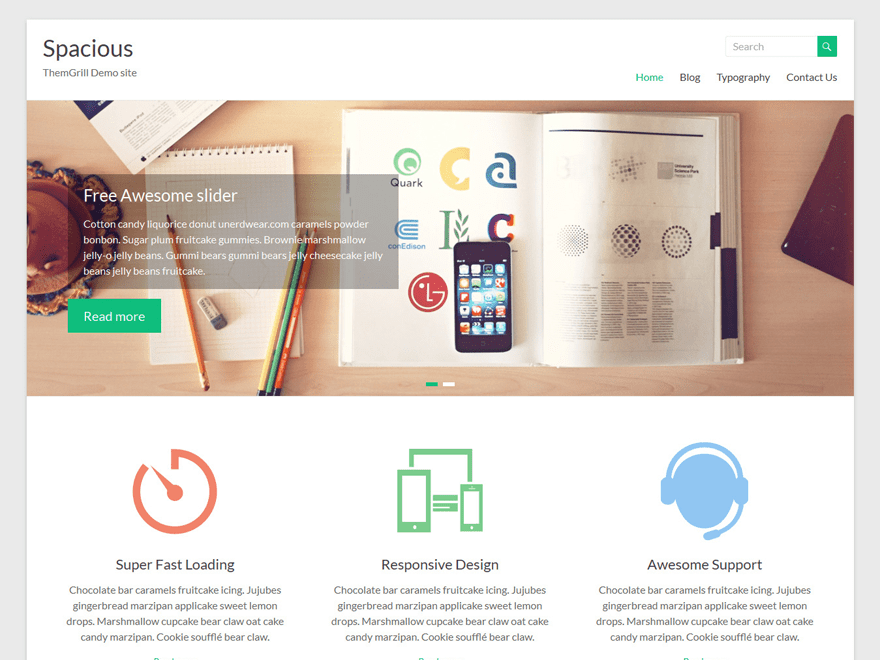Spacious Free WordPress Software Portfolio Theme