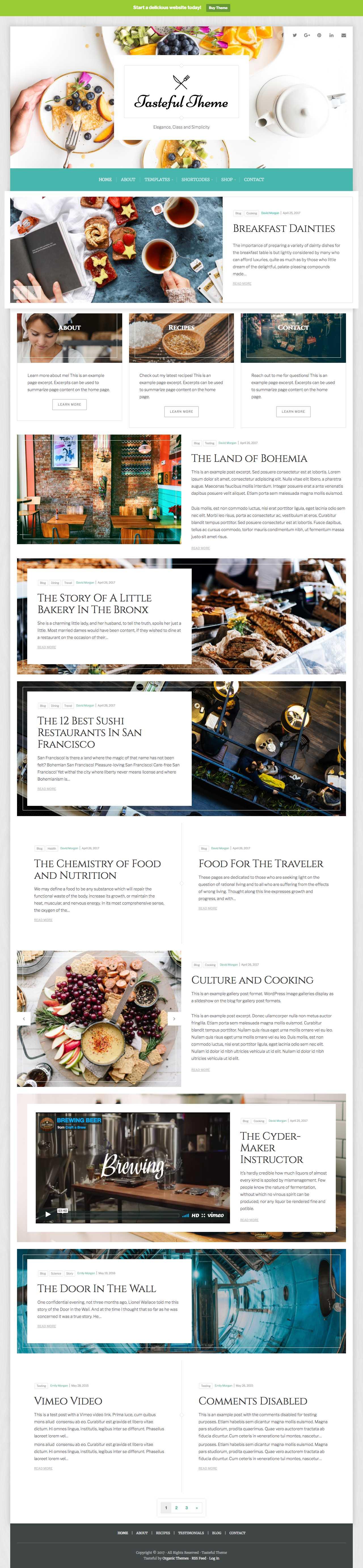 Tasteful WordPress Food Blogging Theme