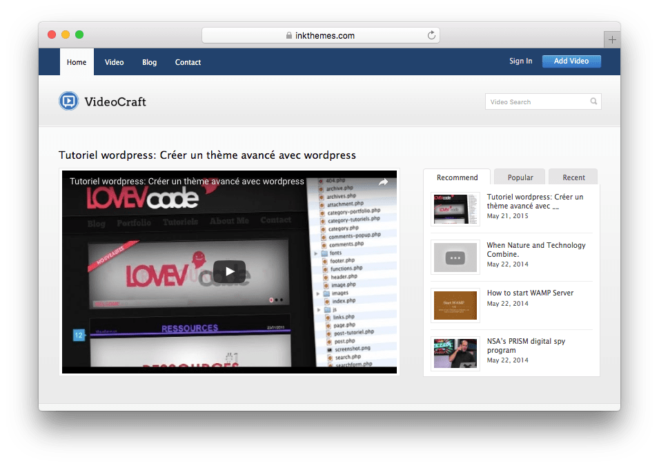VideoCraft YouTube or Vimeo like WordPress Theme