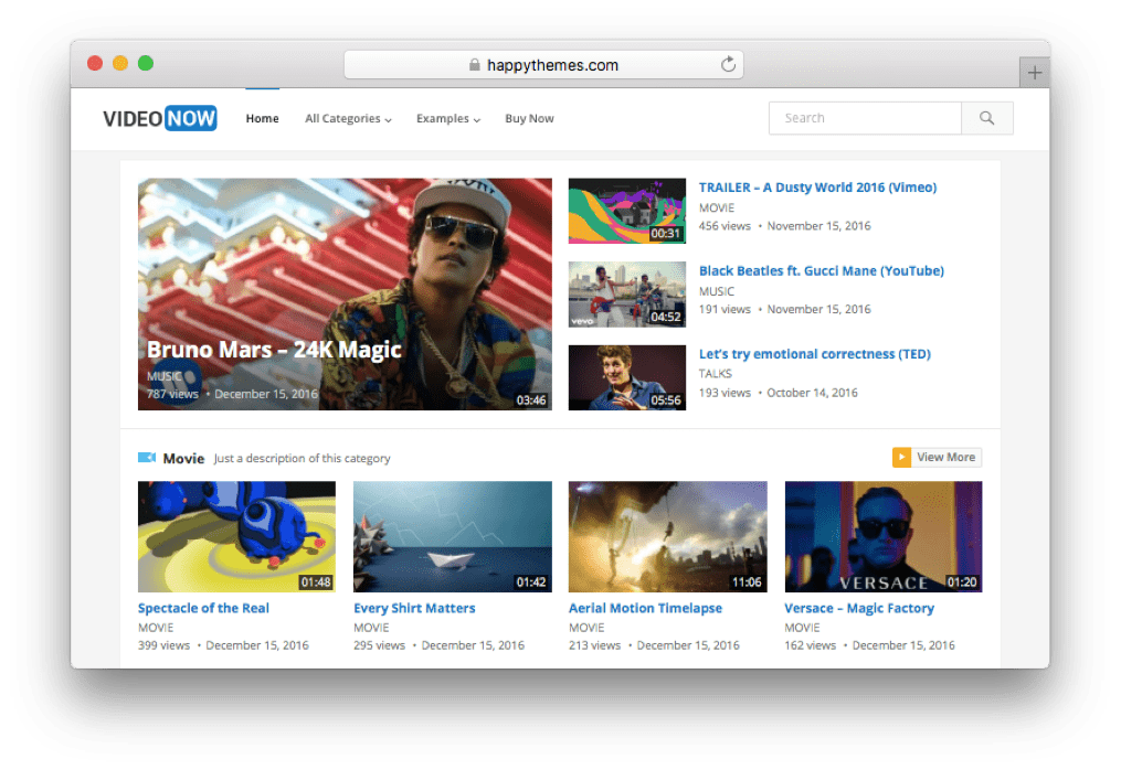 VideoNow WordPress Video Blog Theme