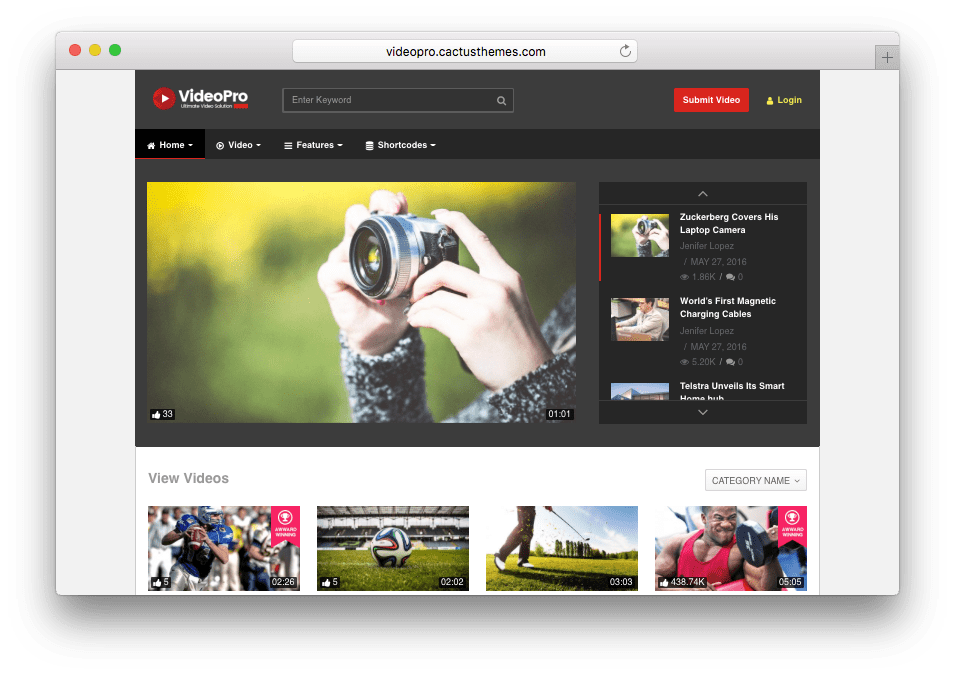 VideoPro Video Theme like YouTube, Vimeo, Twitch