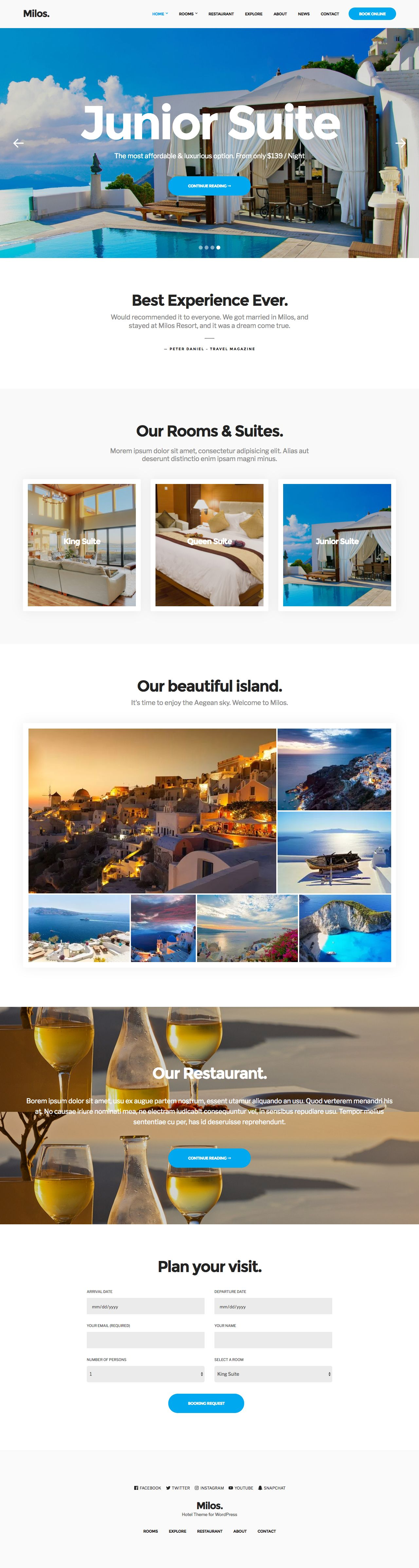 Milos WordPress Accommodation Business Services Theme