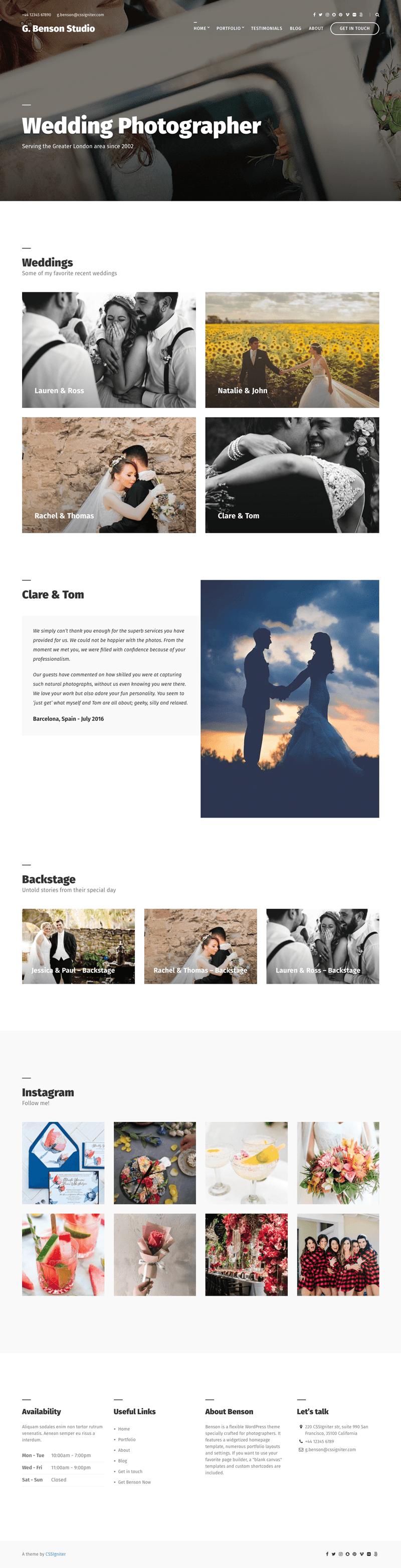 Benson WordPress Photography Theme
