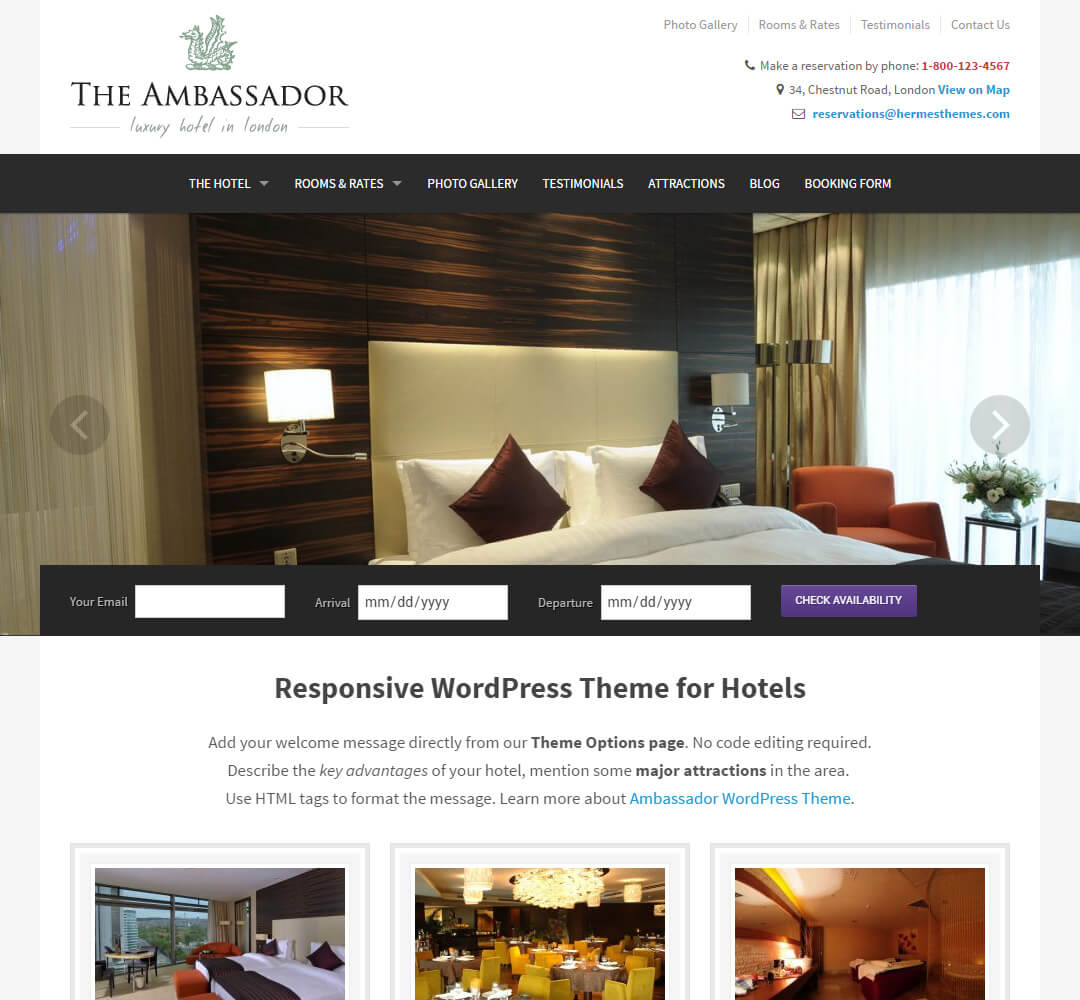 Ambassador Hotel Business WordPress Theme